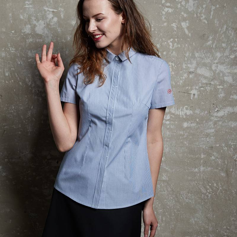 Polyester Cotton Classic Short Sleeve Slim Fit waitress uniform Shirt CW1056D154000H Featured Image