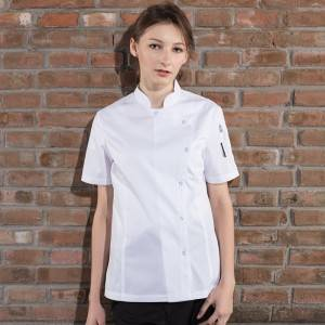 SINGLE BREASTED SHORT SLEEVE CHEF JACKET FOR HOTEL AND RESTAURANT CW114D0200E