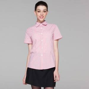 Polyester Cotton Classic Short Sleeve Slim Fit waitress uniform Shirt  CW195D5800H