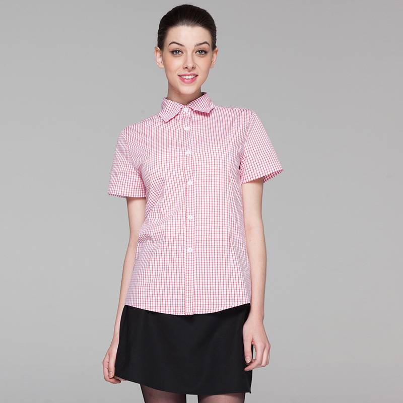 Polyester Cotton Classic Short Sleeve Slim Fit waitress uniform Shirt  CW195D5800H Featured Image