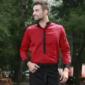 WINE RED Polyester Cotton Classic Long Sleeve Slim Fit waiter uniform Shirt M167C0401E