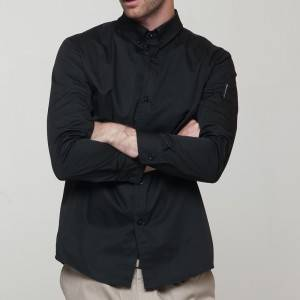 BLACK Polyester Cotton Classic Long Sleeve Slim Fit waiter uniform Shirt CM181C0100E