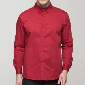 WINE RED Polyester Cotton Classic Long Sleeve Slim Fit waiter uniform Shirt CM181C0400E