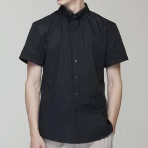 BLACK Polyester Cotton Classic Short Sleeve Slim Fit waiter uniform Shirt  M181D0100E