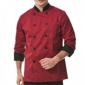 Classic Double Breasted Contrast Color Long Sleeve Chef Jacket And Chef Uniform For Hotel And Restaurant CU104C0401A