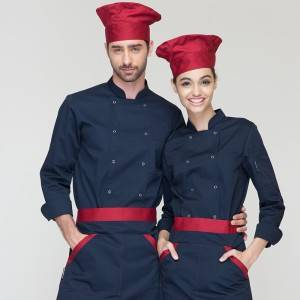 Classic Fashion Double Breasted Long Sleeve Chef Coat And Chef Uniform With Stand Collar For Restaurant And Hotel CU104C1200A