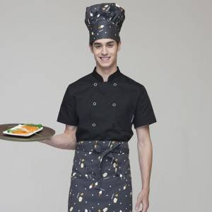 DOUBLE BREASTED SHORT SLEEVE STAND COLLAR CHEF COAT FOR HOTEL AND RESTAURANT CU104D0100E