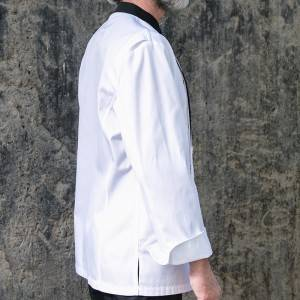 Hidden Placket Contrast Color Long Sleeve Dress Pleats Chef Jacket For Hotel And Restaurant U112C0201C