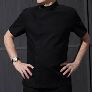 Hidden Placket Short Sleeve Uneven Surface Fabric Chef Jacket For Hotel And Restaurant CU119D0100Y