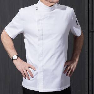 Hidden Placket Short Sleeve Uneven Surface Fabric Chef Jacket For Hotel And Restaurant CU119D0200Y
