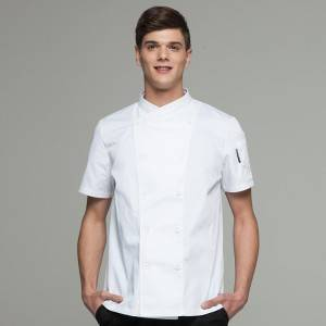 DOUBLE BREASTED SHORT SLEEVE CROSS COLLAR CHEF COAT AND CHEF JACKET FOR HOTEL AND RESTAURANT CU102D0200A