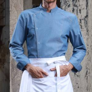 Single Breasted Long Sleeve Cross Collar Chef Jacket For Hotel And Restaurant U153C115000T-2