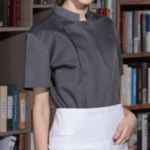 HIDDEN PLACKET SHORT SLEEVE FASHION DESIGN CHEF JACKET AND CHEF UNIFORM FOR HOTEL AND RESTAURANT CU155D5900A