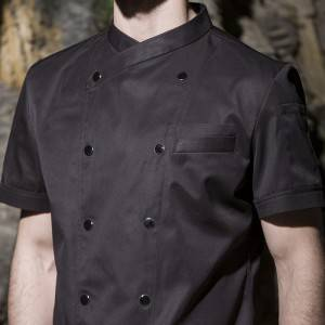 Double Breasted Cross Collar Short Sleeve Chef Uniform And Chef Jacket For Hotel And Restaurant CU102D0100C1