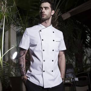 Double Breasted Cross Collar Short Sleeve Chef Uniform And Chef Jacket For Hotel And Restaurant CU102D0201C1
