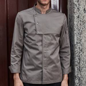 Stand Collar Long Sleeve Hidden Placket Chef Jacket For Hotel And Restaurant U187C3701C