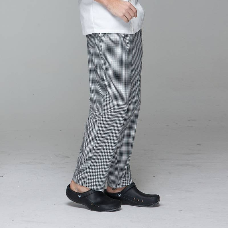 Unisex black white grid chef pants for kitchen work U202C8500H Featured Image