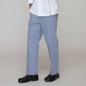 Unisex blue and white grid chef pants for kitchen work U205C6800H