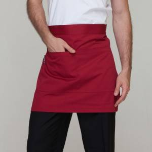 Wine Red Poly Cotton Waiter Short Waist Apron With Pockets U301S0400A