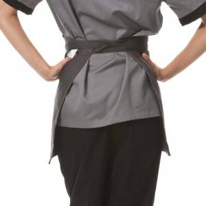 Gray Poly Cotton Waiter Short Waist Apron With Pockets U301S0500A