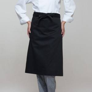 Black Poly Cotton Waiter Long Waist Apron U302S0100A