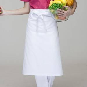 White Poly Cotton Waiter Long Waist Apron U302S0200A