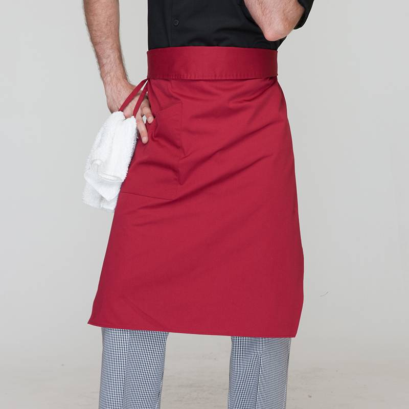 Wine Red Poly Cotton Waiter Long Waist Apron With One Pocket U306S0400A Featured Image