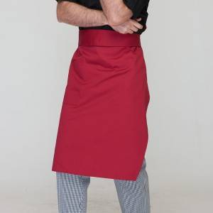 Wine Red Poly Cotton Waiter Long Waist Apron With One Pocket U306S0400A