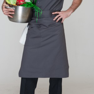 Gray Poly Cotton Waiter Long Waist Apron With One Pocket U306S0500A