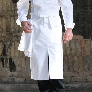 White Poly Cotton Chef Long Waist Apron With Pockets U311S0200A
