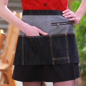 Black Denim Multi Pocket Waiter Chef Short Waist Apron U332D3913T