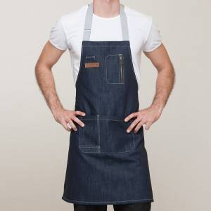 INDIGO DENIM BIB APRON WITH POCKETS U335C4022T
