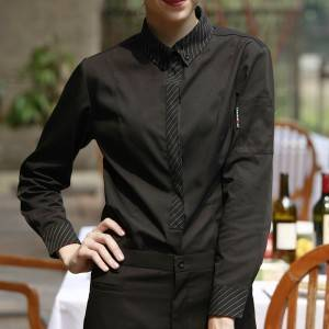 Polyester Cotton Classic Long Sleeve Slim Fit waitress uniform Shirt CW167C0181E