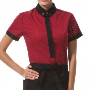 WINE RED Polyester Cotton Classic Short Sleeve Slim Fit waitress uniform Shirt  CW167D0401E
