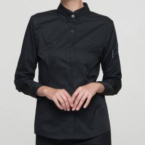 BLACK Polyester Cotton Classic Long Sleeve Slim Fit waitress uniform Shirt CW181C0100E