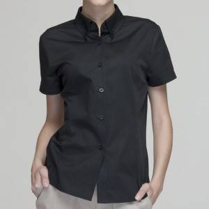 BLACK Polyester Cotton Classic Short Sleeve Slim Fit waitress uniform Shirt CW181D0100E