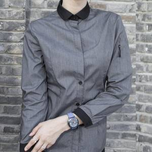 GRAY Polyester Cotton Classic Long Sleeve Slim Fit waitress uniform Shirt CW185C5901H