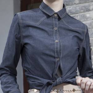 Polyester Cotton Classic Long Sleeve Slim Fit waitress uniform Shirt CW193C4100T2
