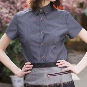 Polyester Cotton Classic Short Sleeve Slim Fit waitress uniform Shirt CW197D4100T2