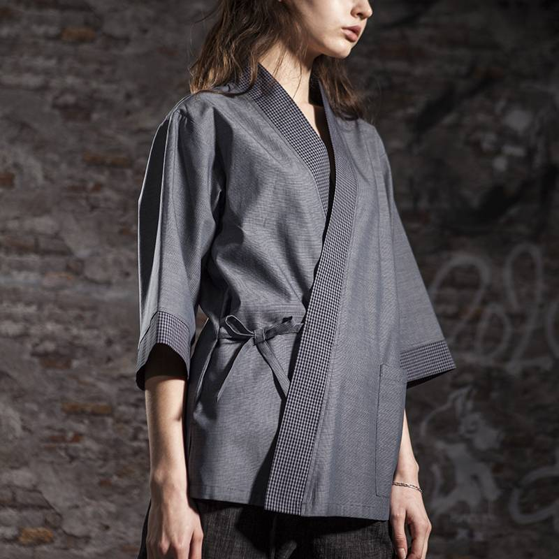 Japanese Style Medium Sleeve Cross Collar Kimono For Restaurant And Hotel CU1118Z123124AQ Featured Image