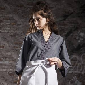 Japanese Style Medium Sleeve Cross Collar Kimono For Restaurant And Hotel CU1118Z123124AQ