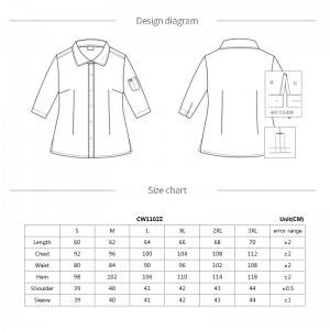 Gray Polyester Cotton Classic Half Sleeve Slim Fit waitress uniform Shirt CW1102Z059000T4