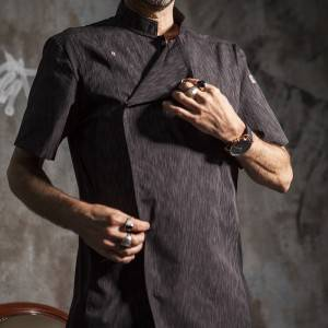 SINGLE BREASTED SHORT SLEEVE HIDDEN PLACKET CROSS COLLAR CHEF COAT FOR HOTEL AND RESTAURANT CU1108D120000AL