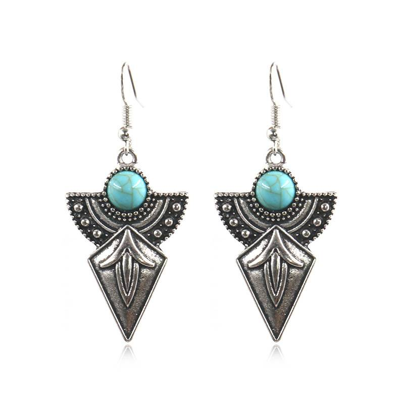 Mexican Art Inspired Silver Earrings, Turquoise Earrings, Turquoise Jewellery, Boho, Ethnic, Gypsy, Hypoallergenic E158