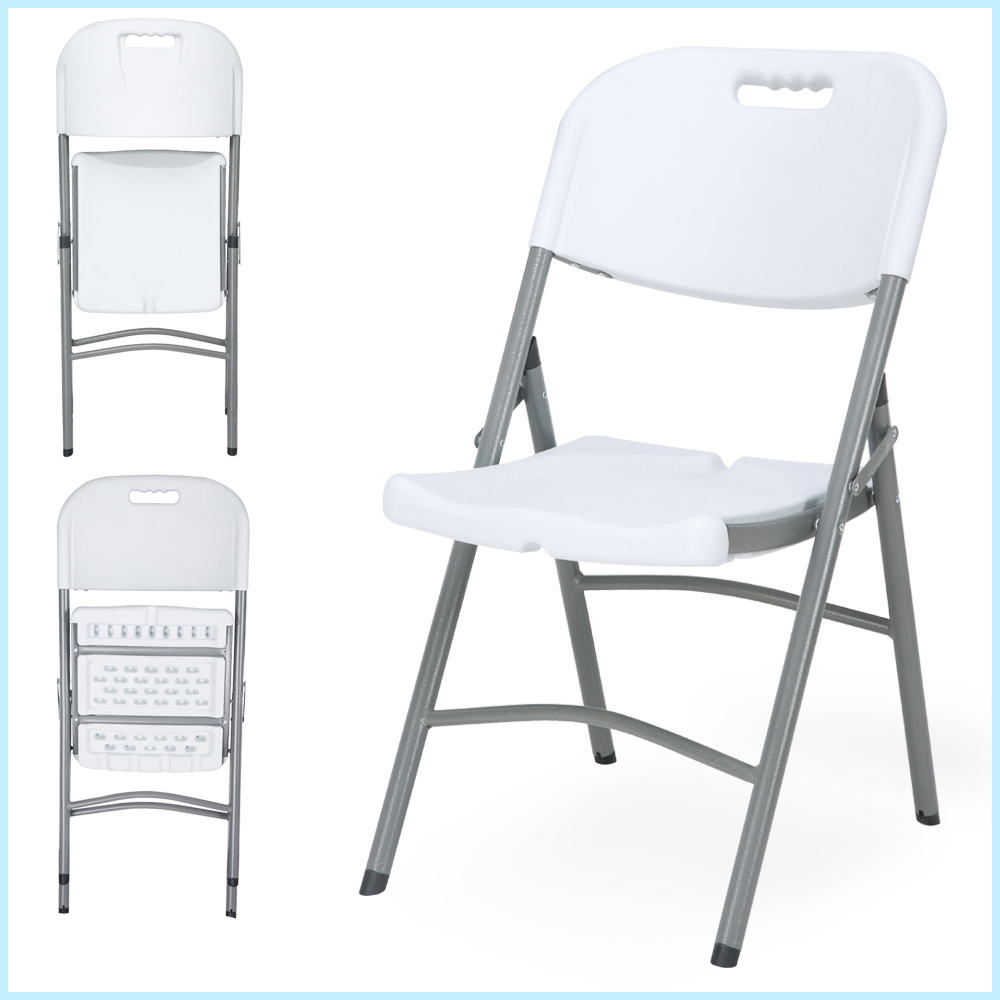 wholesale outdoor portable metal frame plastic garden camping picnic white folding chairs with two bars