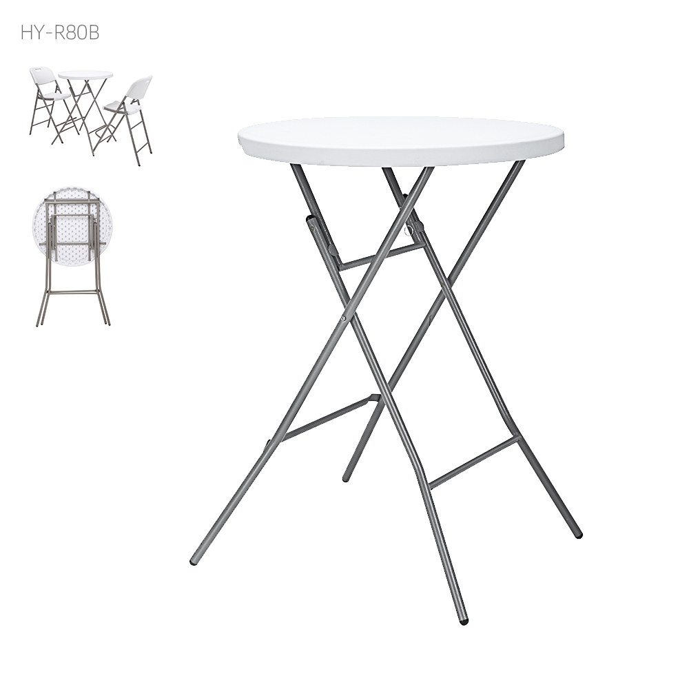 Dia 80cm high top plastic round cocktail folding bar table