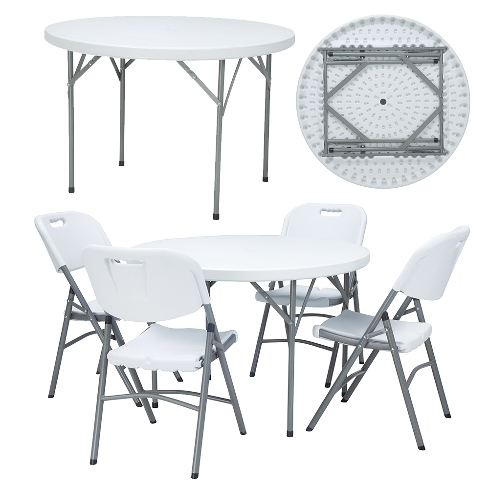 Dia 110cm outdoor plastic round folding dinning table for 4 people