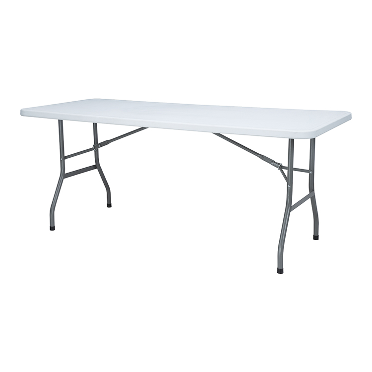 EN581 standard 6FT rectangle Plastic trestle folding table with stable HDPE top and strong table leg