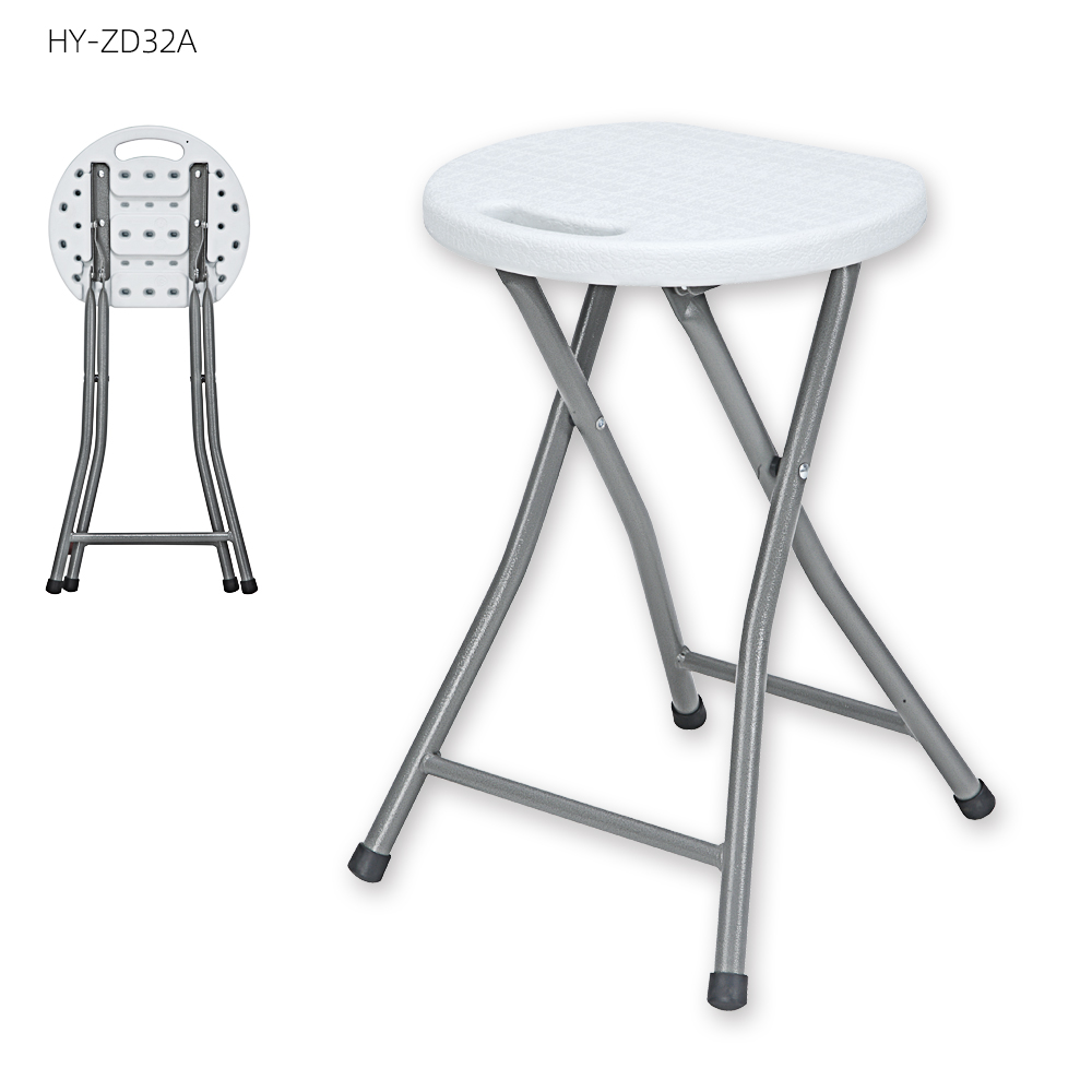 45 cm height durable white plastic small round folding stool  round foldable chair plastic