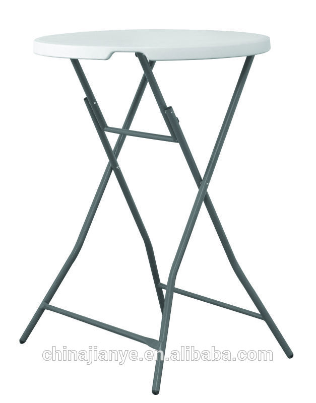 Two people use plastic folding bar table